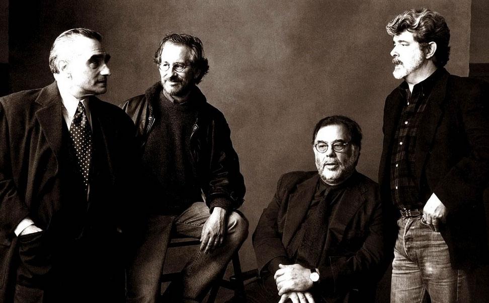 Da sinistra: Martin Scorsese, Steven Spielberg, Francis Ford Coppola (seduto) e George Lucas